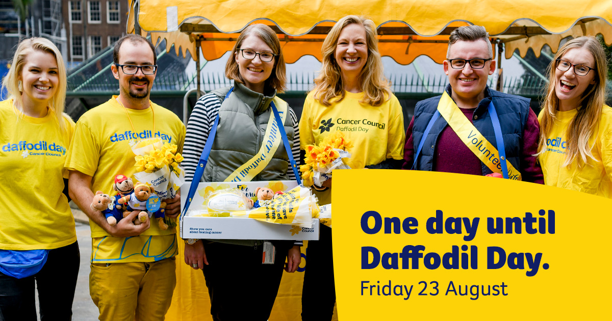 One day until Daffodil Day Facebook image